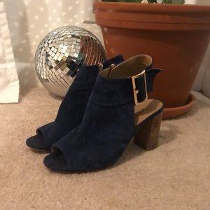 Royal blue suede open toe heels